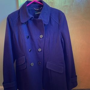Peacoat, like new . Purple with black buttons